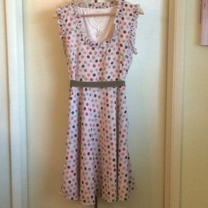 Vintage Polka Dot Dress with Sash